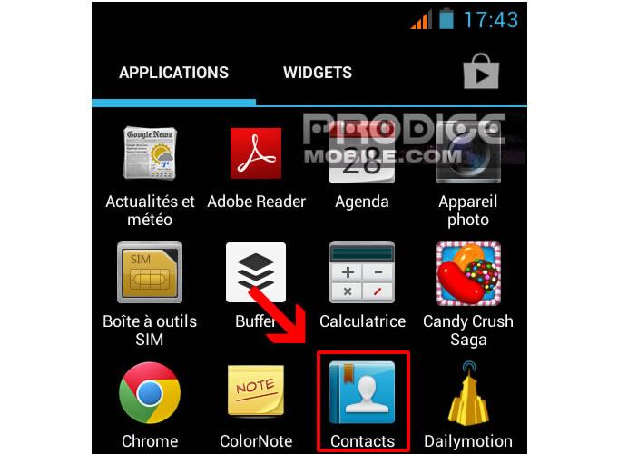 Répertoire téléphonique sur un smartphone Android