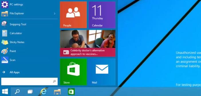 Menu Démarrer dans Windows 9