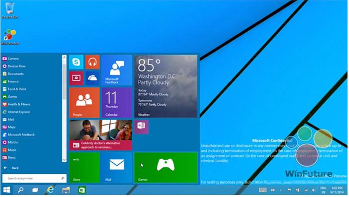 Le menu Démarrer réintègre Windows 9