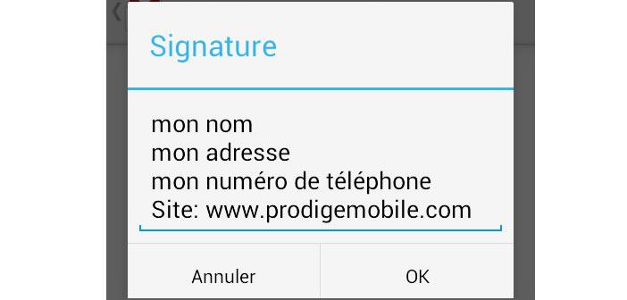 Créer une signature dans l'application mobile Gmail