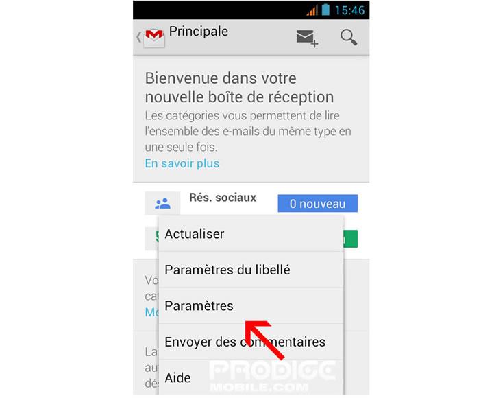 Paramètres de Gmail pour Android