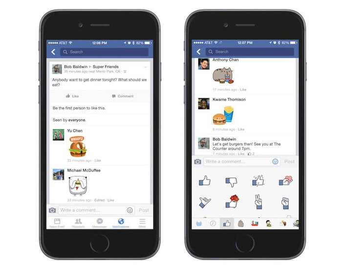Autocollants dans l'application Facebook