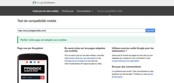 Outil Google pour les sites optimisés mobile