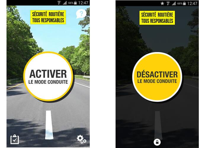 Application de la sécurité routière - Mode Conduite