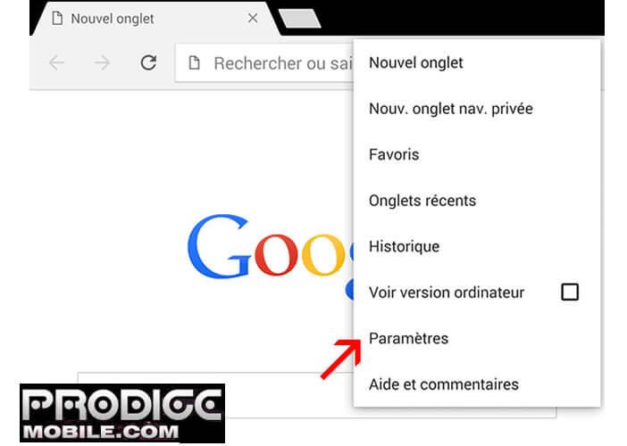 Paramètres Google Chrome pour Android
