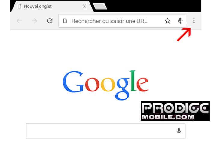 Ouvrir paramètres Chrome sur Android