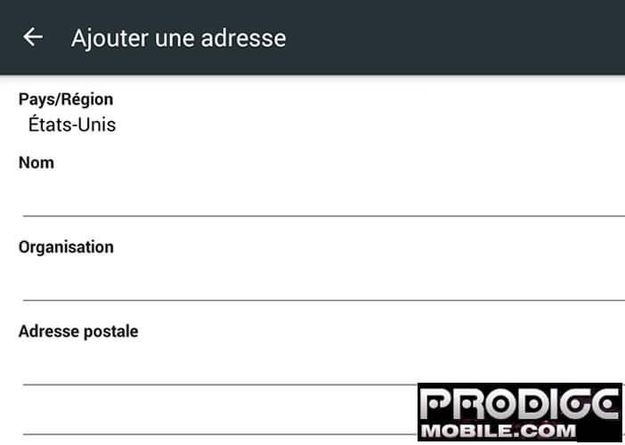 Profil saisie auto formulaire - Chrome