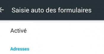 Saisie automatique formulaire - Chrome Android