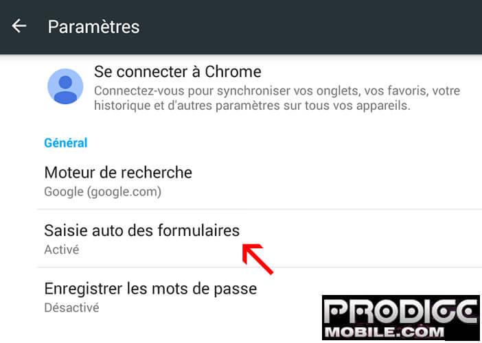 Auto formulaire - Google Chrome pour Android