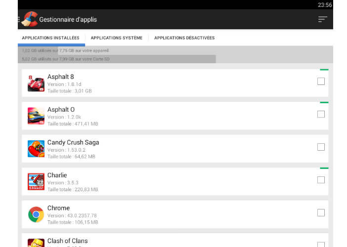 Gestionnaire d'applications CCleaner