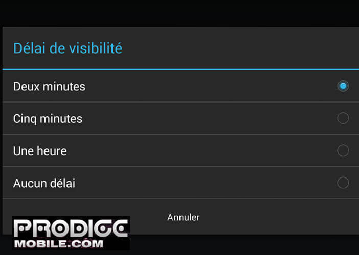 Temps visibilité Bluetooth