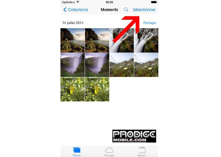 Sélectionner photos sur un iPhone