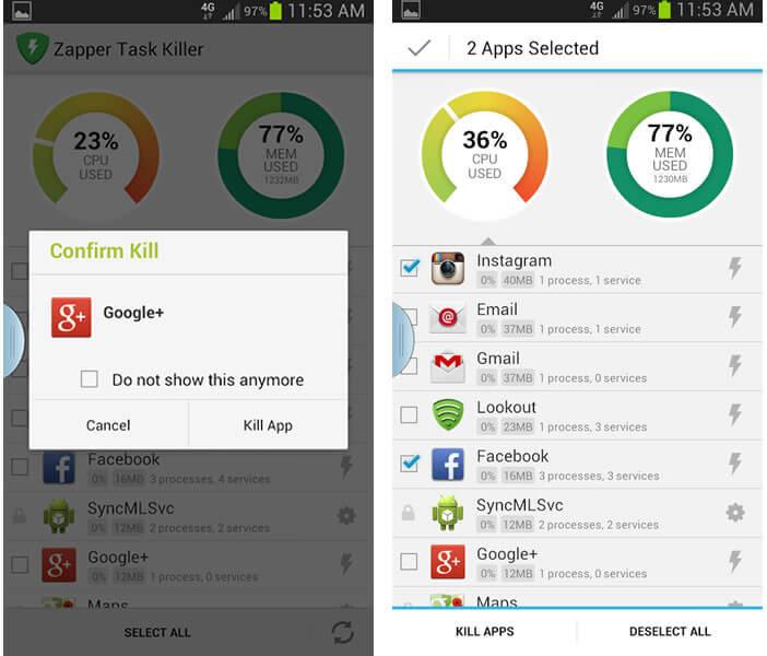 Tuer tâches de fond sur Android