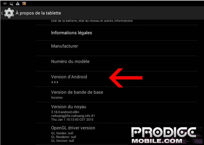 Numéro de version d'Android