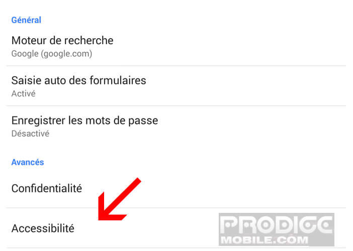 Options d'accessibilité de Google Chrome