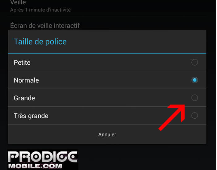 Agrandir la police Android