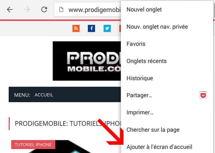 Ajouter un site à l'écran d'accueil d'un téléphone Android