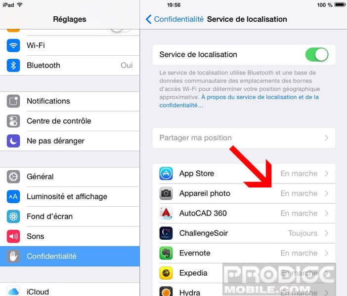 Appareil photo iPhone: option de géolocalisation