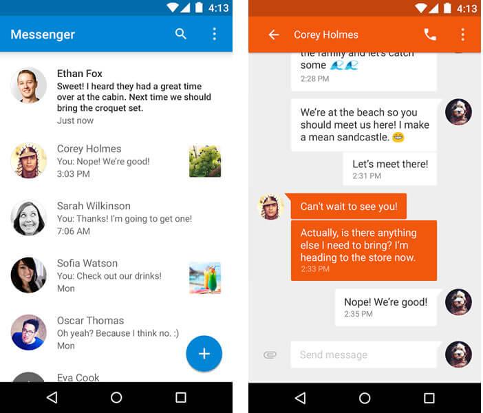 Gestion SMS et MMS par Google Messenger