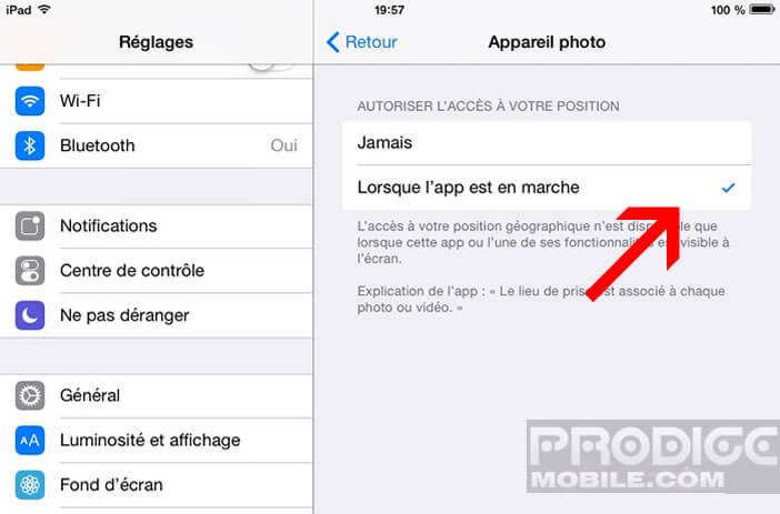Autoriser la localisation sur l'appareil photo Apple