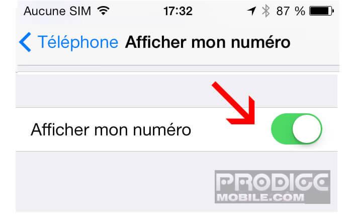 Cacher numéro de téléphone sur iPhone