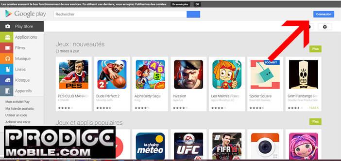 Connexion au Google Play Store