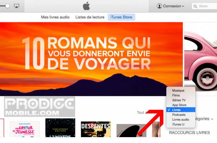 Rubrique Livres dans iTunes