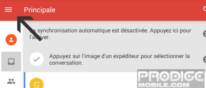 Menu de l'application Gmail pour Android