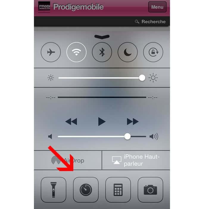 Centre de contrôle : minuteur sur iPhone