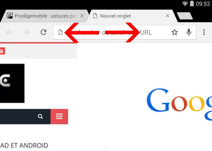 Navigation rapide entre les onglets de Google Chrome sur un smartphone