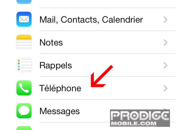 Paramètres iPhone SMS