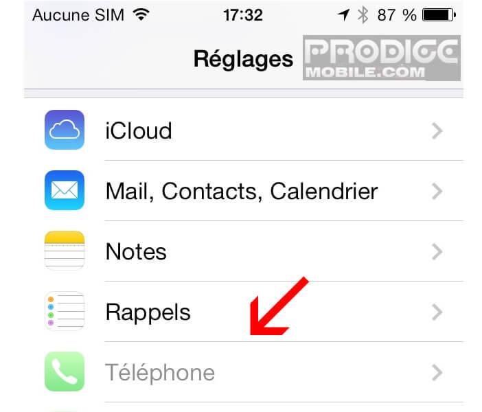 Paramètres téléphone de l'iPhone