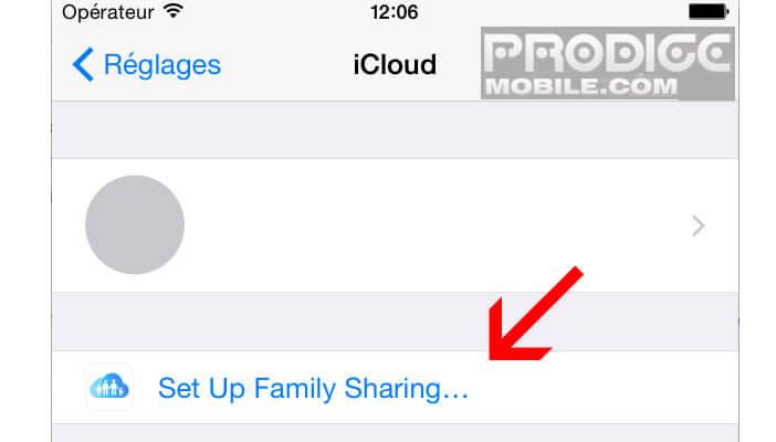 Configurer partage familial