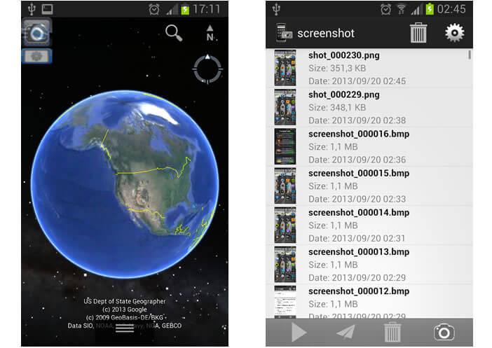 Application Android : screenshot