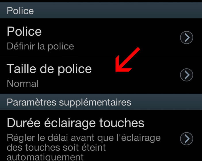 Taille police pour smartphone Samsung