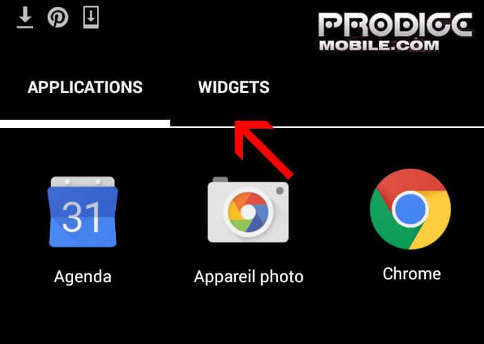 Onglet widget sur un smartphone Android
