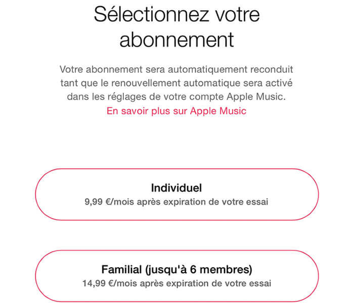 Formule abonnement à Apple Music