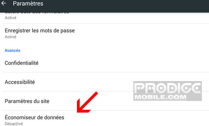 Compression de sites Web sur Google Chrome pour Android