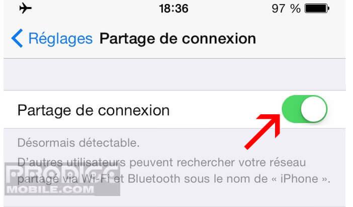 Activer partage de connexion sur iPhone