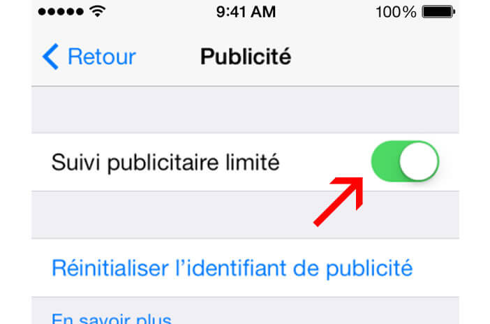 Activé le suivi publicitaire limité sur l'iPhone