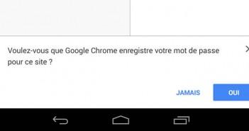 Google Chrome pour Android enregistre vos mots de passe
