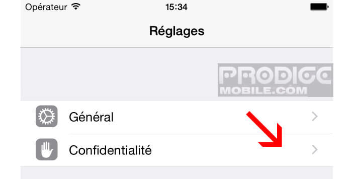 Paramètres de confidentialité de l'iPhone