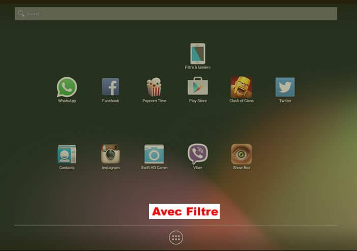 Ecran Android avec le Filtre bleu activé