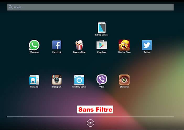 Ecran Android sans le Filtre bleu activé