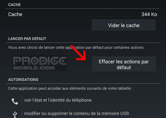 Change the default application for an action in Android