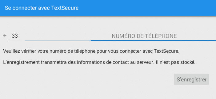 Inscription par SMS à TextSecure