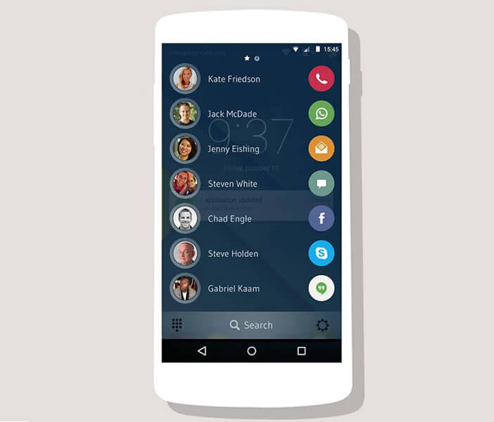 Interface de l'application Drupe Contact