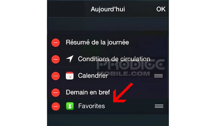 Déplacer Favorites widget