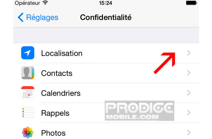 Localisation sur un Apple iPhone