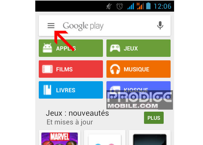 Ouvrir le menu du Google Play Store